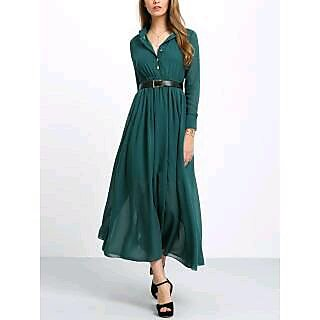 Westchic Women's Green Collar with Belt Long Dress