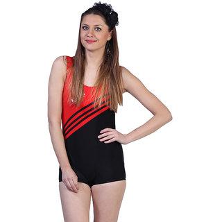 Orange black Stunning One Piece Swim Suit With Slanted Stripes