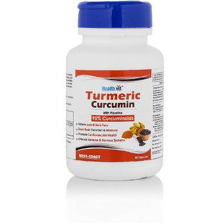Healthvit Turmeric Curcumin Extract With Piperine Extract 60 Capsules (95 Curcuminoids)