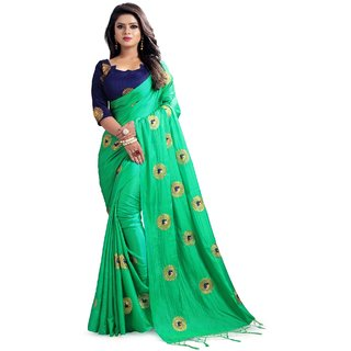 362c7924b9e7e Buy Women s Green Embroidery Paper silk Sari With Banglory Silk Blouse  Online - Get 66% Off