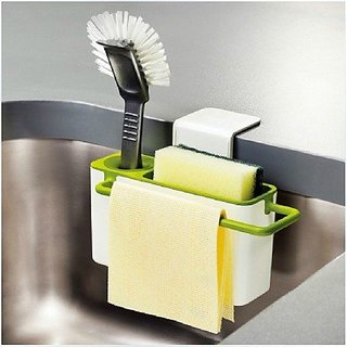 Self-Draining Sink Tidy by House of Quirk with Suction Cup Organizer - White/Green