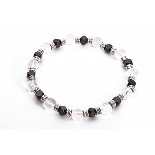 Positive beaded bracelet for women made from clear crystal and hematite