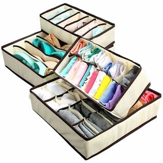House of Quirk Set of 4 Foldable Storage Box Drawer Divider Organizer Closet Storage for Socks Bra Tie Scarfs - Beige