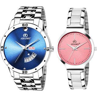 Adamo Designer Couple Combo Wrist Watch  816SM06824SM05