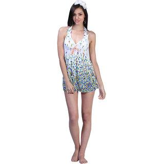 Glamorous Open Back, Colorful Blue Buds V-Neckline Cover-Up-Swim Suit