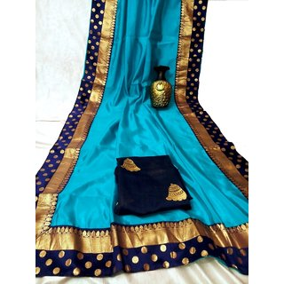 Traditional Semi Sana Silk Saree With Golden Fancy Border