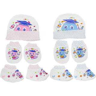 Neska Moda Baby Mittens Booties with Cap Set 6 Pcs Combo 0 To 6 Months