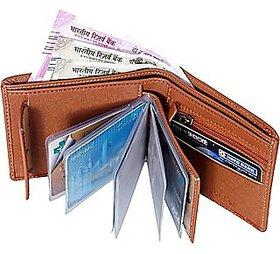 Men Tan Artificial Leather Wallet (10 Card Slots)