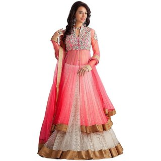 Florence Women's Pink Embroidered Semi Stitched Suit