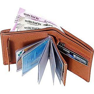 Men Tan Artificial Leather Wallet  10 Card Slots