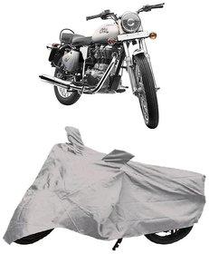 De AutoCare Premium Quality Silver Matty Two Wheeler Bike Body Cover for Roy@l En-Field Bullet 350
