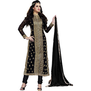 DnVeens Black Heavy Zari Work Party Wear Georgette Salwar Kameez Women Dress Material with Inner