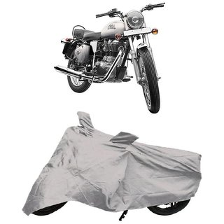 De AutoCare Premium Quality Silver Matty Two Wheeler Bike Body Cover for Roy@l En-Field Bullet 350