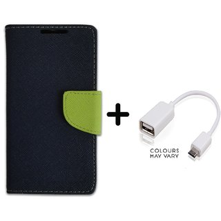 New Mercury Goospery Wallet Flip Cover Sony Xperia M2 Dual  ( BLUE ) With OTG Cable