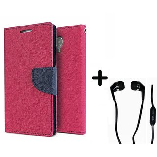 Stylish Luxury Mercury Flip Cover Case For Samsung Galaxy Ace NXT G313H  (PINK) With Earphone (3.5mm Jack)