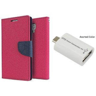 Stylish Luxury Mercury Flip Cover Case For Redmi Note 2  ( PINK ) With Micro Usb Smiley Light Cable