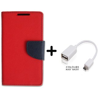 Stylish Luxury Mercury Flip Cover Case For Lenovo A2010  ( RED ) With OTG Cable