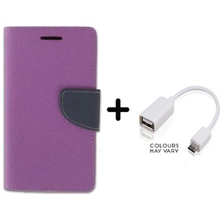 Stylish Luxury Mercury Flip Cover Case For Lenovo A6600  ( PURPLE ) With OTG Cable