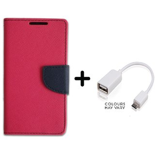 Stylish Luxury Mercury Flip Cover Case For Micromax Canvas Juice 3 Q392  ( PINK ) With OTG Cable