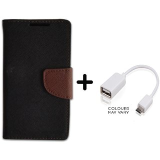 Stylish Luxury Mercury Flip Cover Case For Redmi Note 2  ( BROWN ) With OTG Cable