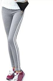 Women's White Double Narrow Side Stripe Stretchable Light Grey Leggings Yoga Gym Wear