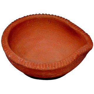 Eco Haat DIWALI DIYA For Eco Friendly Happy Deepawali 21Pcs. Traditional Handmade Designer Natural Clays For Pooja