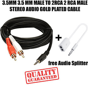 3.5MM AUX MALE TO 2RCA MALE STEREO AUDIO Cable For game console systems, speakers and more + Free Audio Splitter