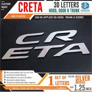 CarMetics CRETA 3D Letters for Hyundai Creta Silver Brushed 1 Set - 3D car Sticker Creta 3D Letters Hyundai Creta 2018 A