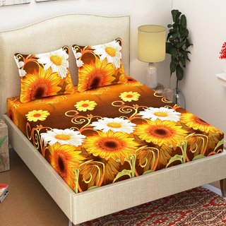 Azaani Beautiful Sunflower 3D Printed Grace Cotton Double Bedsheet With Two Pillow covers