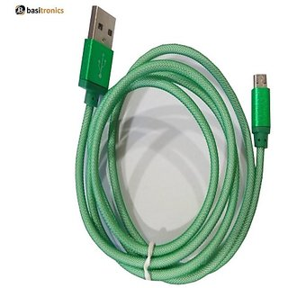 Basitronics Metal Net Micro USB Charging and Data cable 3 feet 0.9 Meters Green