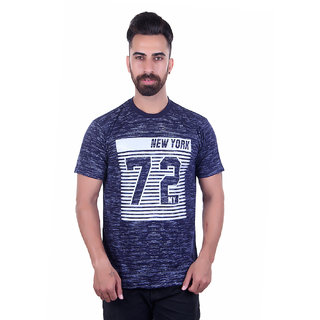 Urban Fashion Men's Blue Round Neck T-shirt