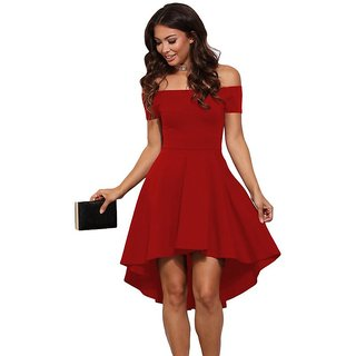 18780247c30 Buy Womenzcart Womens Red Polyster Off Shoulder Dress Online   ₹3030 from  ShopClues