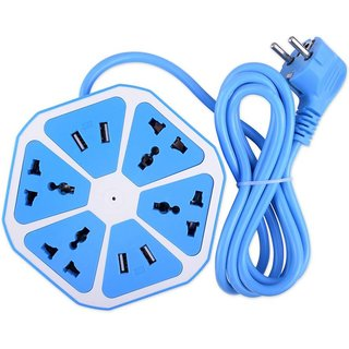 vinimox Good quality Hexagon Socket Extension board with 4 USB 2.1Amp charging (multicolor)