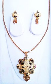 Gold Plated  Necklace Set With Earring For Women  Girls