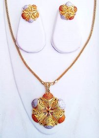 Traditional Golden Finishing Long Necklace Set with Stunning Earring For Bridal Jewellery Necklace Earring Set