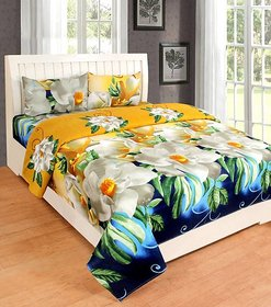 Manvi Creations Double Bedsheet With 2 Pillow Covers