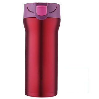 Home Story VooDoo Tumbler Stainless Steel Vacuum Insulated Coffee Flask With Safety Lock Sipper Cherry Color 350 ml Ho