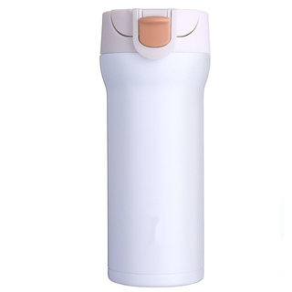 Home Story VooDoo Tumbler  Stainless Steel Vacuum Insulated Coffee Flask With Safety Lock Sipper  Elegant White Color 35