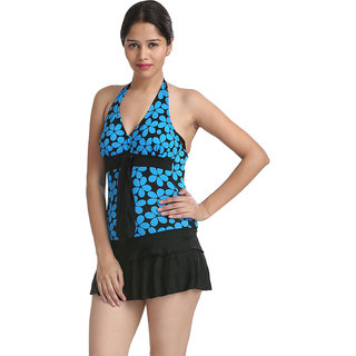 Striking And Tempting Blue Floral Halter Neck Cut-Sleeve Swim Cool Cover-Up