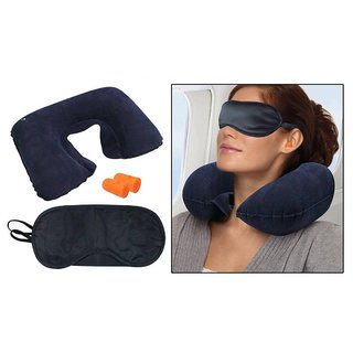Travel Combo - Inflatable Neck Cushion + Eye Mask + Ear Plugs