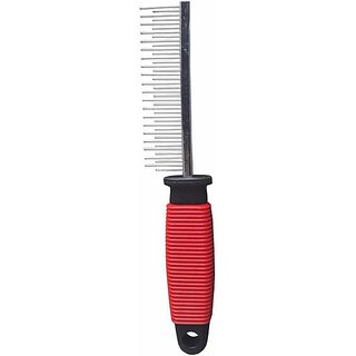 Finbar Pet Hair Flea Comb Stainless Steel Pin Dog Grooming Brush With Soft Grip Handle- (Red)