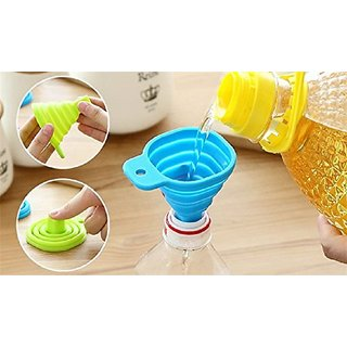 EREIN Collapsible Silicone Funnel Helpful In Pouring Liquid with Precision (Multicolor)