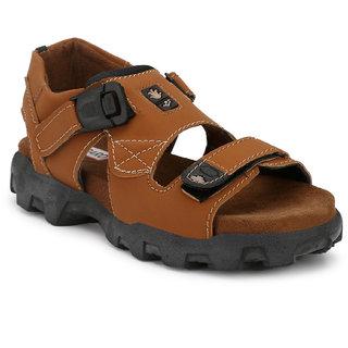 Shoegaro Men's Tan Suede Sports Comfort Casual Sandals