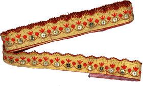 Red Golden Trim Lace Border For Sarees Dupatta Blouse 3 mtr