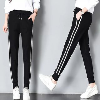 Women's Drawstring White Double Narrow Side Stripe Stretchable Black Pocket Jegging/ Yoga Wear /Gym Wear /Sport's Wear