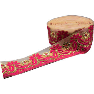 Pink Golden net Trim Lace Border For Sarees Dupatta Blouse 9 mtr