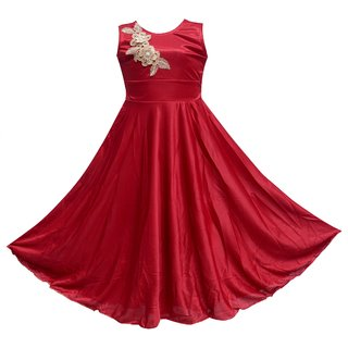 Princess Maroon Party wear Dress for Girls