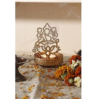Viable Decor Metal Laxmi Shadow Tealight Candle Holder