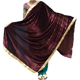 Varun Cloth House Womens Velvet Shaneel Warm Golden Laced Bordered Shawl (vch4197, Brown)
