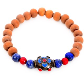 Impressive beaded bracelet for women made from red coral, lapis lazuli and sandalwood
